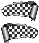 Small Pair Ripped Torn Metal Gash Design & B&W Chequers Checked vinyl sticker 93x50mm each